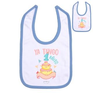 """Babero personalizable """"Ya tengo 1 añito"""" Rosa Talla 12 meses"""