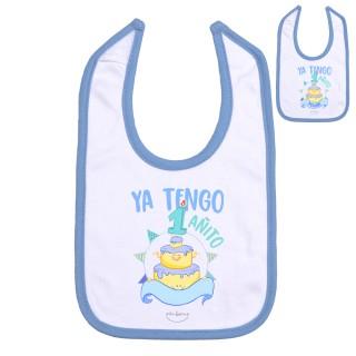 """Babero personalizado """"Ya tengo 1 añito"""" Azul Talla 12 meses"""
