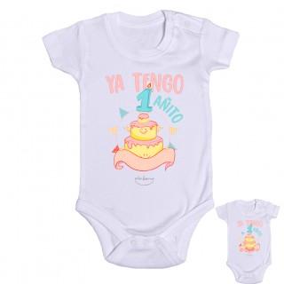 """Body bebé personalizable """"Ya tengo 1 añito"""" Rosa Talla 12 meses"""