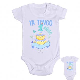"""Body bebé personalizado """"Ya tengo 1 añito"""" Azul Talla 12 meses"""