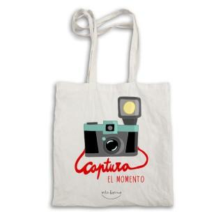 """Bolsa tela tote bag """"Captura el momento"""""""