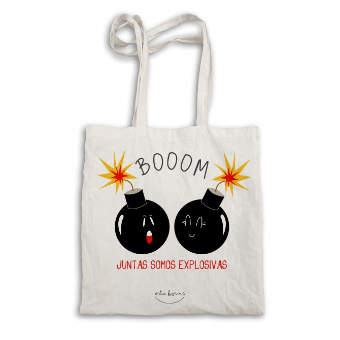 "Bolsa tela tote bag. Color natural ""Juntas somos explosivas"""