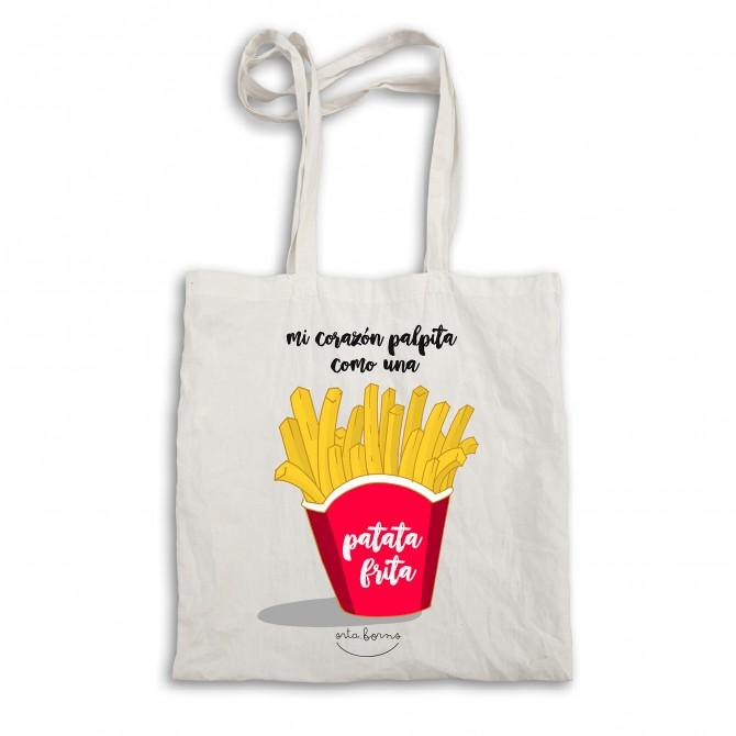 "Bolsa tela tote bag. Color natural ""Mi corazón palpita como una patata frita"""