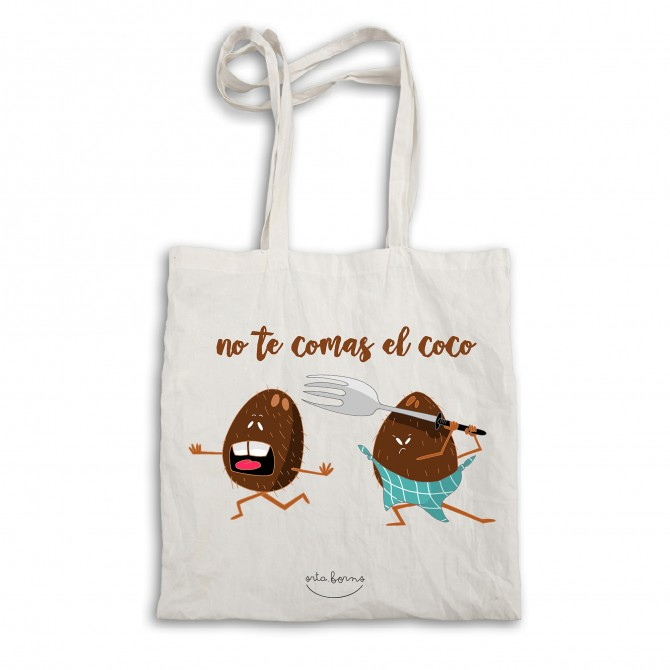 "Bolsa tela tote bag. Color natural ""No te comas el coco"""