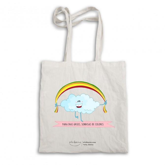 "Bolsa tela tote bag. Color natural. ""Para días grises sonrisas de colores"""