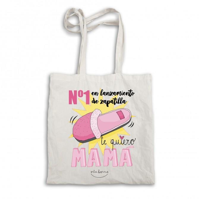 """Bolsa tela tote bag """"Nº1 en lanzamiento de zapatilla. Te quiero mamá."""