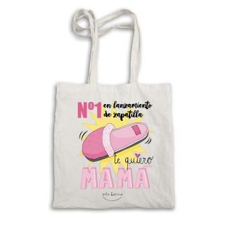 Bolsa tela tote bag. Color natural.Nº1 en lanzamiento de zapatilla. Te quiero mamá.