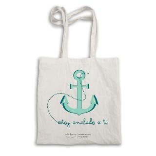 "Bolsa tela tote bag. Color natural ""Estoy anclado a ti"""