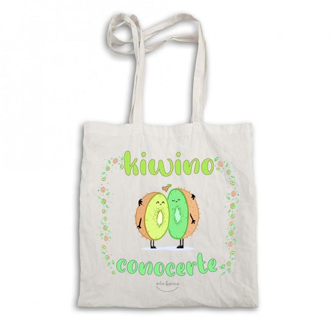 "Bolsa tela tote bag. Color natural. ""Kiwino conocerte"""