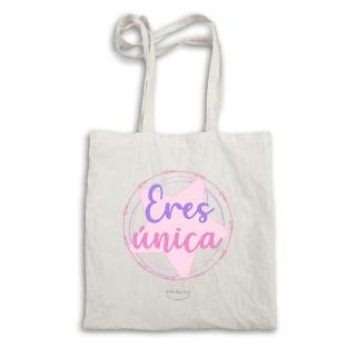 """Bolsa tote bag. Color natural """"Eres única"""""""