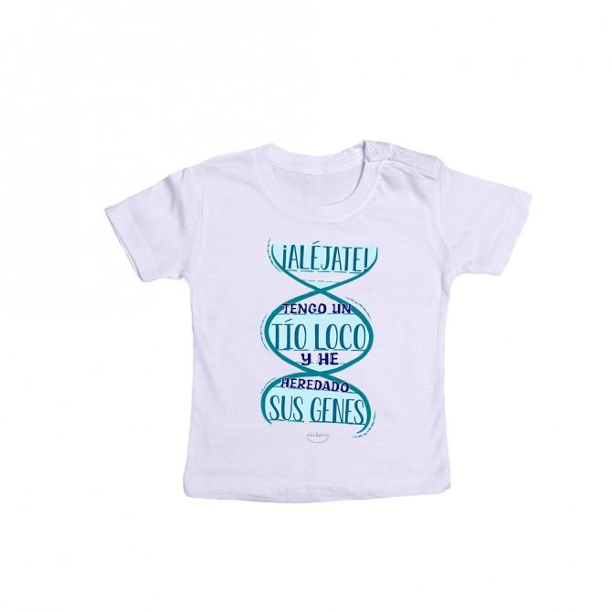 """Camiseta bebé """" ¡Aléjate! Tengo un tío loco y he heredado sus genes"""""""