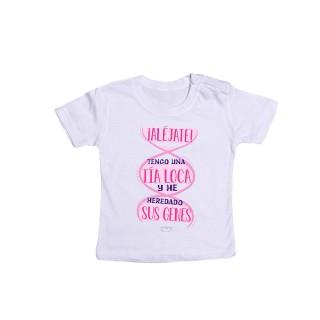 """Camiseta bebé """" ¡Aléjate! Tengo una tía loca y he heredado sus genes"""""""