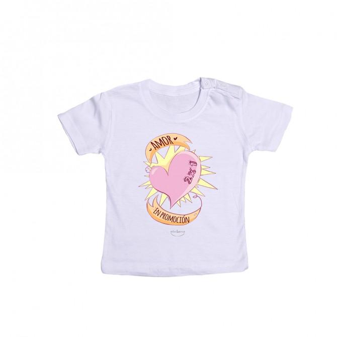 """Camiseta bebé """"Amor 2x1 en promoción"""""""