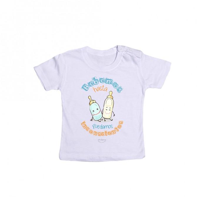 """Camiseta bebé """"Bebemos hasta quedarnos inconscientes"""""""
