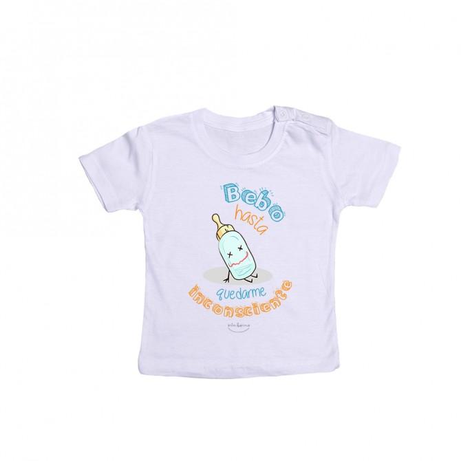 """Camiseta bebé """"Bebo hasta quedarme inconsciente"""""""
