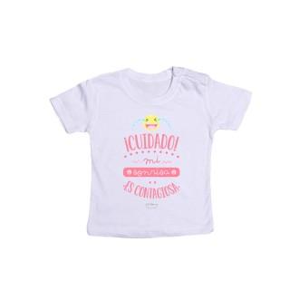 """Camiseta bebé """"¡Cuidado! Mi sonrisa es contagiosa"""