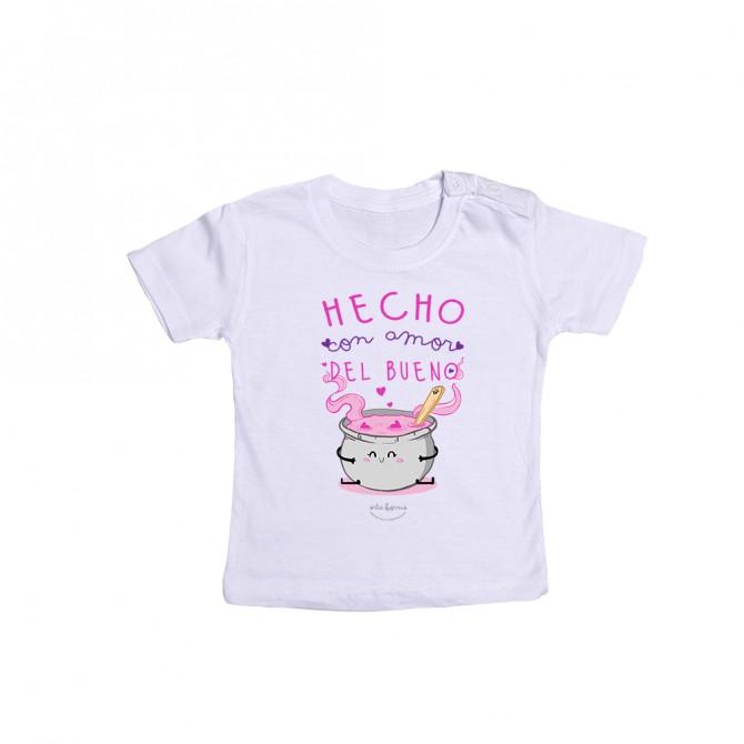 """Camiseta bebé """"Hecho con amor del bueno"""""""