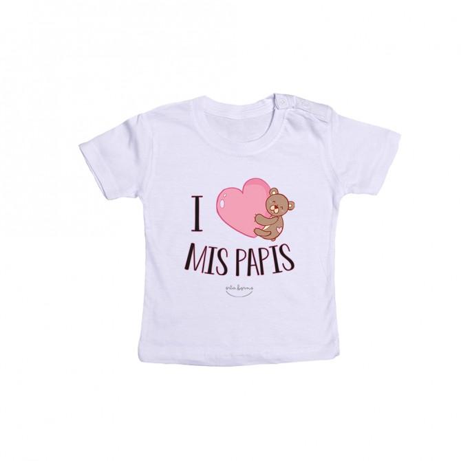 "Camiseta bebé ""I love mis papis"""