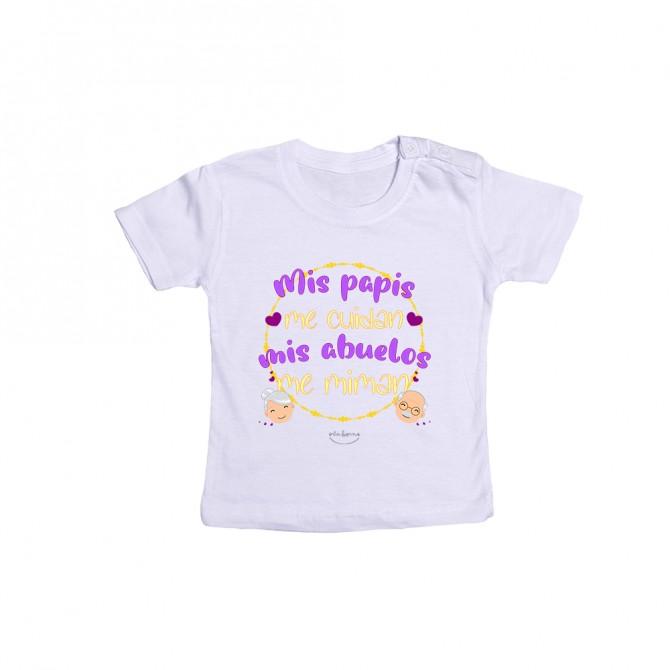"Camiseta bebé ""Mis papis me cuidan, mis abuelos me miman"""
