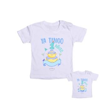 "Camiseta bebé Personalizable ""Ya tengo 1 añito"" Azul Talla 12 meses"