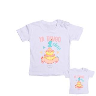 "Camiseta bebé personalizada ""Ya tengo 1 añito"" Rosa Talla 12 meses"