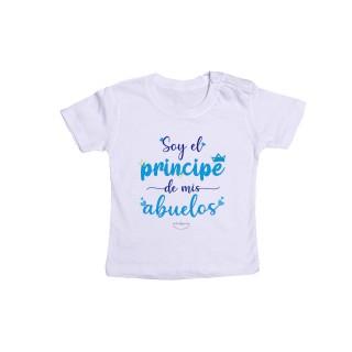 """Camiseta bebé """"Soy el príncipe de mis abuelos"""""""