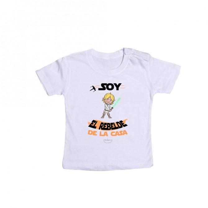 """Camiseta bebé """"Soy el rebelde de la casa"""""""