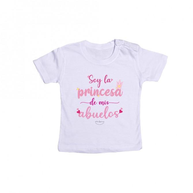 """Camiseta bebé """"Soy la princesa de mis abuelos"""""""