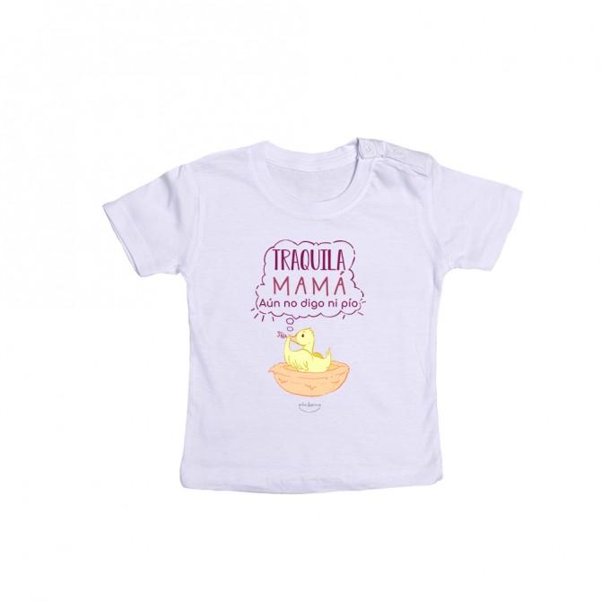 """Camiseta bebé """"Tranquila mamá, aún no digo ni pío"""""""