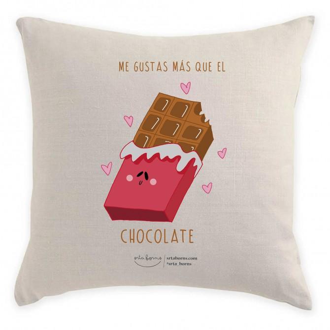 Cojín con Frase de Amor - Me Gustas más Que el Chocolate