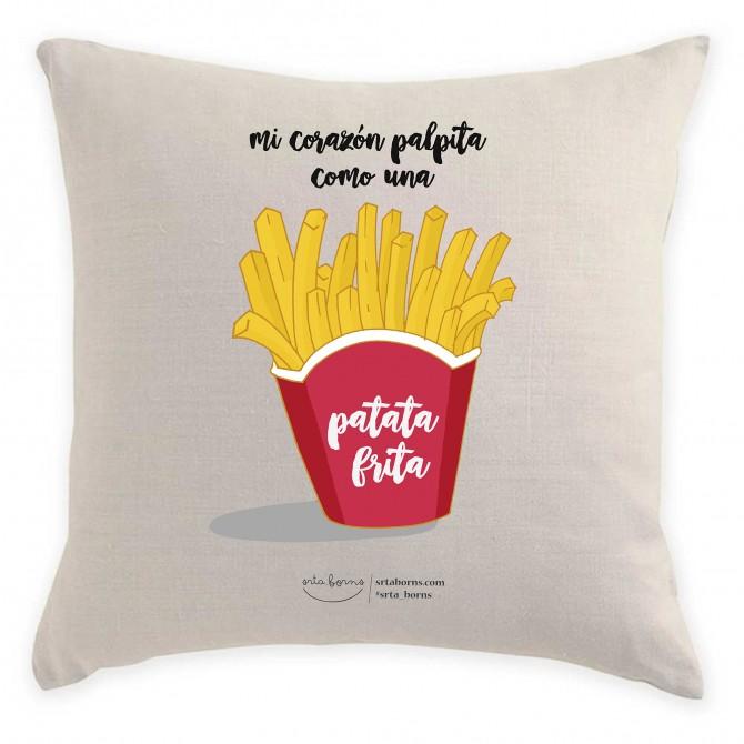Cojín con Frase de Amor - Mi corazón palpita como una Patata frita