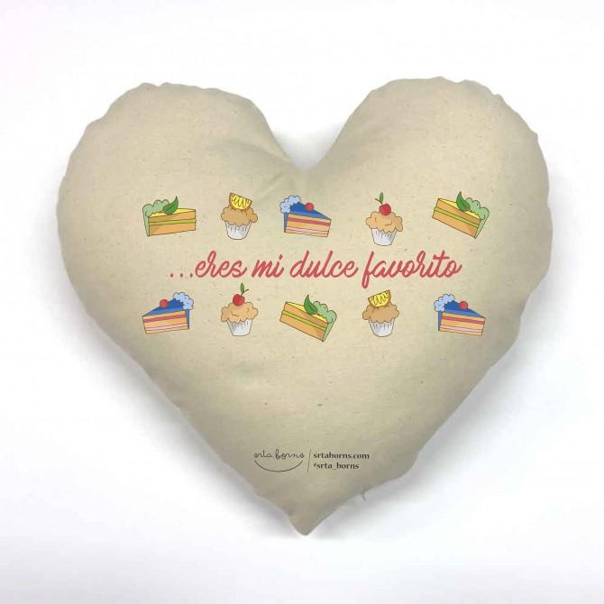 Cojín corazón Frase de Amor - Eres mi Dulce Favorito