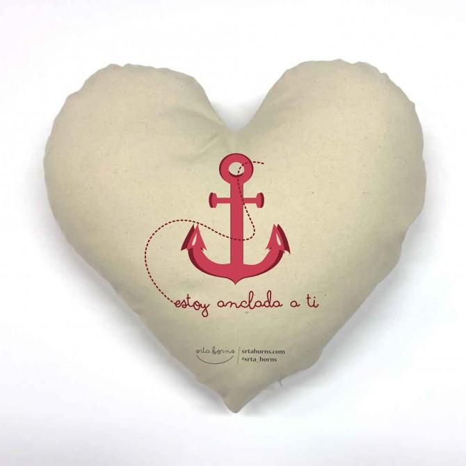 Cojín corazón Frase de Amor - Estoy anclada a ti