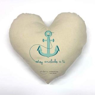 Cojín corazón Frase de Amor - Estoy anclado a ti
