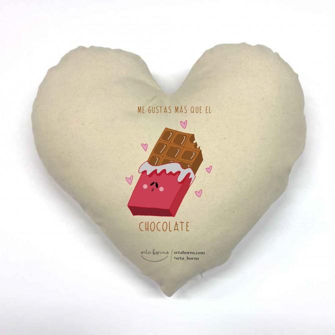 Cojín corazón Frase de Amor - Me Gustas más Que el Chocolate