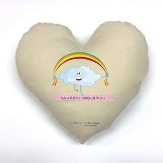 Cojín corazón Frases Bonitas - para días Grises Sonrisas de Colores