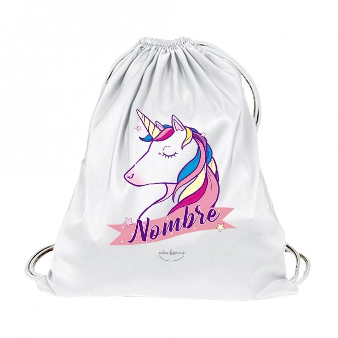 """Mochila de tela niña/niño """"Unicornio"""" personalizable"""