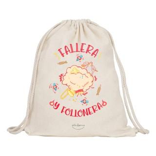 "Mochila-saco de tela ""Fallera y follonera"""