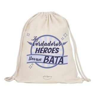 """Mochila-saco de tela """"Los verdaderos héroes llevan bata"""""""