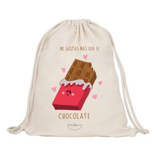 """Mochila-saco de tela """"Me gustas más que el chocolate"""""""