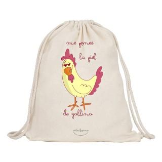 "Mochila-saco de tela ""Me pones la piel de gallina"""