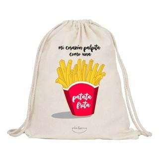 "Mochila-saco de tela ""Mi corazón palpita como una patata frita"""