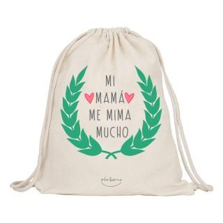 "Mochila-saco de tela ""Mi mamá me mima mucho"""