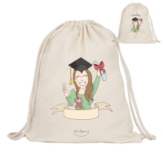 "Mochila-saco de tela personalizada ""Graduada"""
