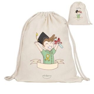 "Mochila-saco de tela personalizada ""Graduado"""