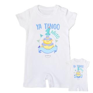 """Mono bebé personalizable """"Ya tengo 1 añito"""" Azul Talla 12 meses"""