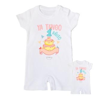 """Mono bebé personalizable """"Ya tengo 1 añito"""" Rosa Talla 12 meses"""