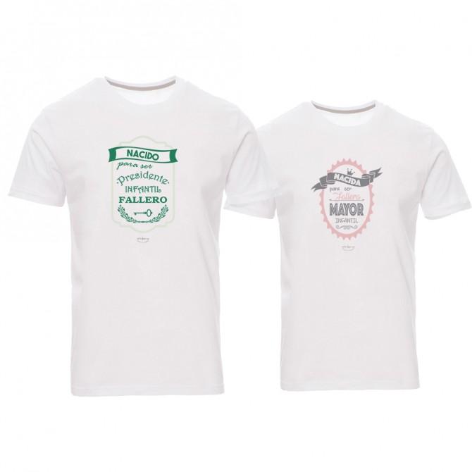 """Pack 2 camisetas """"Nacidos para ser fallera mayor infantil y presidente infantil fallero"""""""
