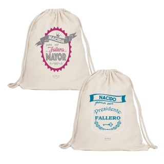 """Pack 2 mochilas-sacos de tela. Color natural """"Nacidos para ser fallera mayor y presidente fallero"""""""