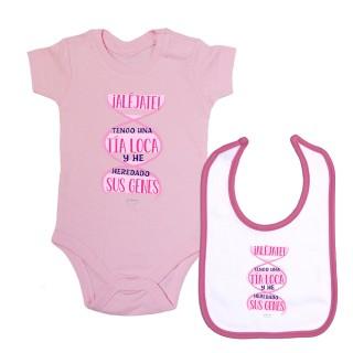 """Pack body bebé y babero """"¡Aléjate! Tengo una tía loca y he heredado sus genes"""" Rosa"""